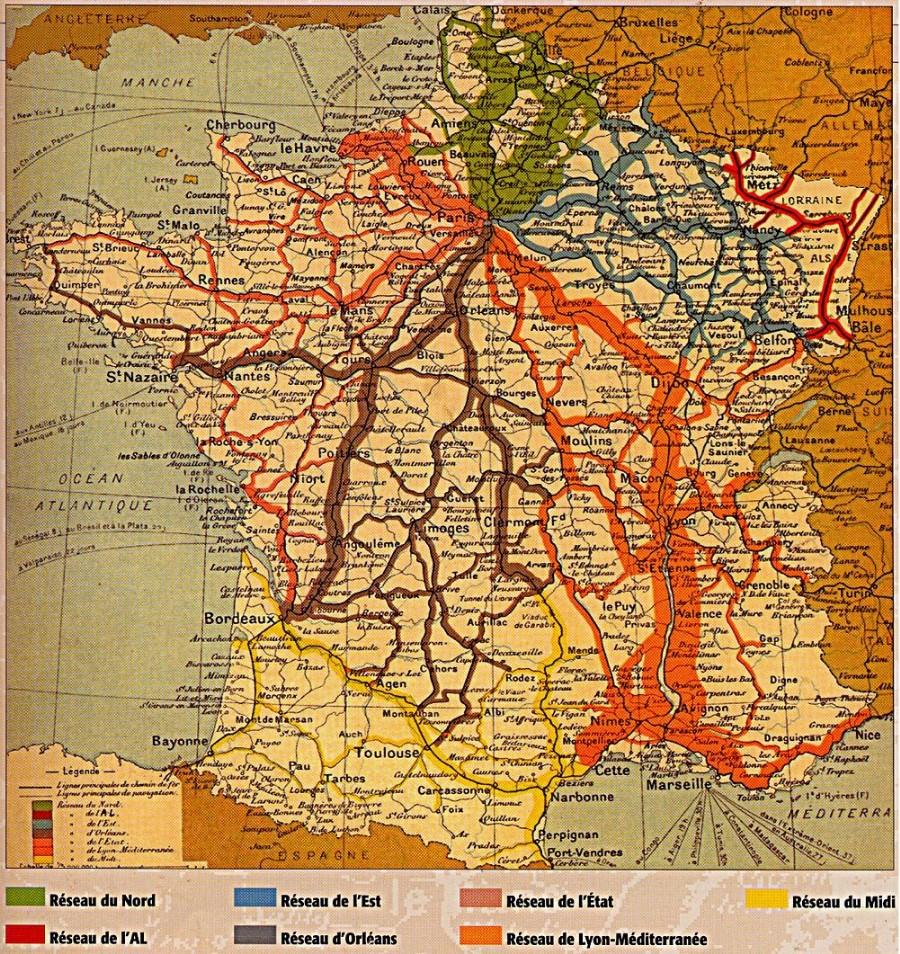 Le dense réseau de train français en 1934