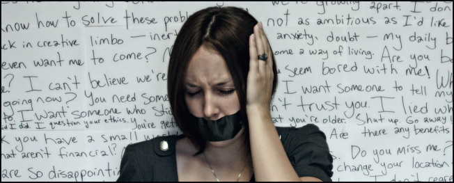 Woman Silenced with Duct Tape, Background of Words